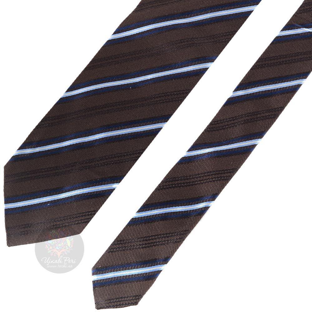 Галстук Trussardi темно-коричневый в голубую полоску