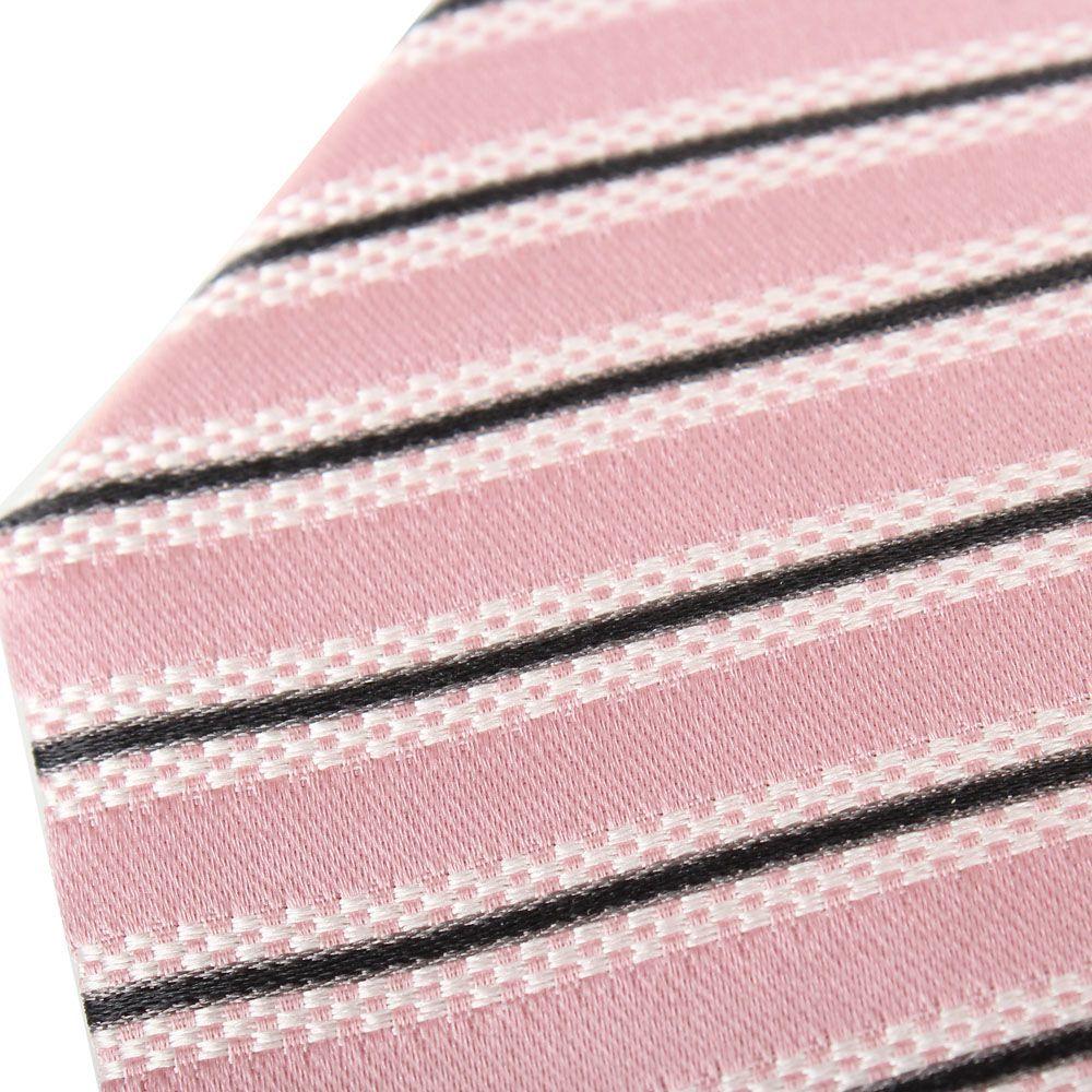 Шелковый галстук Valentino розового цвета в бело-черную полоску