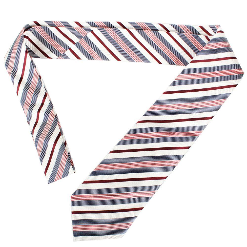 Шелковый галстук Valentino белый в бордовую и синюю полоску