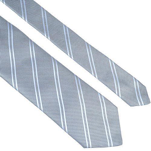 Шелковый галстук Lanvin серо-голубой строгий с диагональными полосами, фото