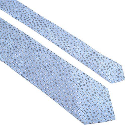Шелковый галстук Lanvin голубой с рисунком, фото