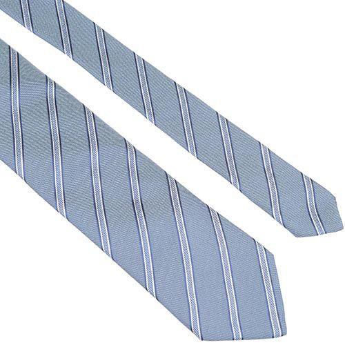 Шелковый галстук Lanvin серый строгий с тонкими темно-синими полосами, фото