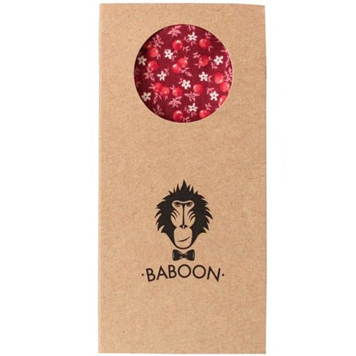 Галстук-бабочка Baboon двухсторонняя красные ягоды и розовые цветы, фото