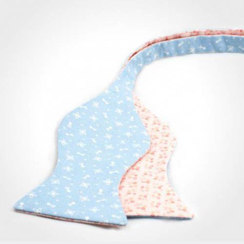 Галстук-бабочка Baboon двухсторонняя с голубой и нежно-розовой стороной, фото