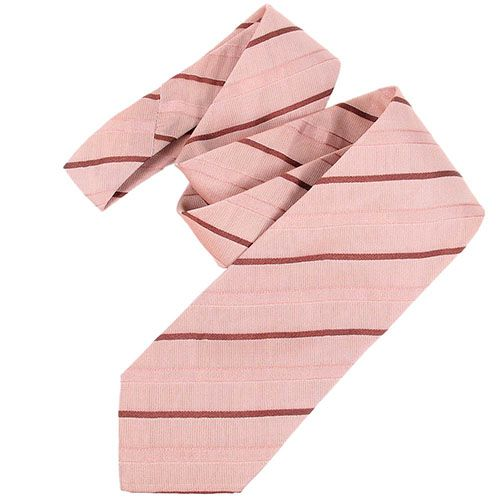 Шелковый галстук DKNY розового цвета в мелкую красную точку, фото