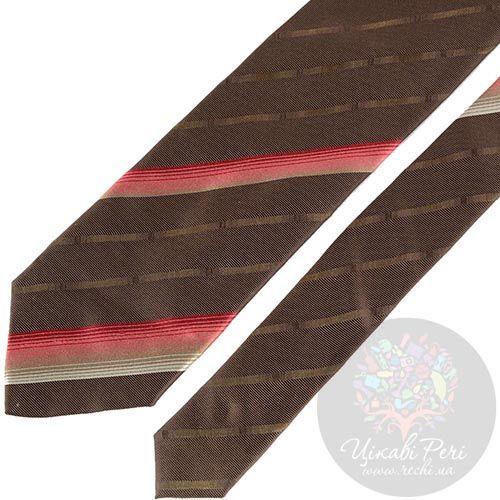 Галстук DKNY коричневый в розовую полоску, фото