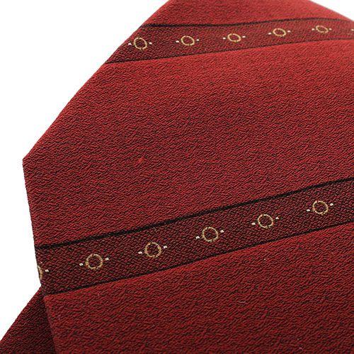Бордовый галстук DKNY с полосками и рисунком в виде бежевых кружочков, фото