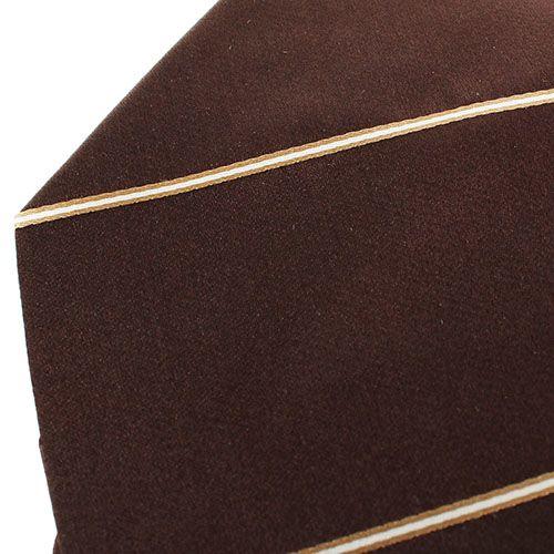 Коричневый галстук DKNY гладкий с тонкими бело-золотыми полосками, фото