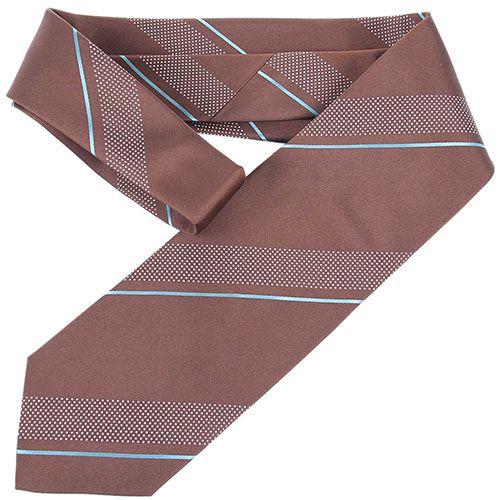 Галстук DKNY коричневого цвета с белыми полосками разной ширины, фото