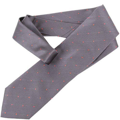 Серый галстук DKNY в мелкую красную точку, фото
