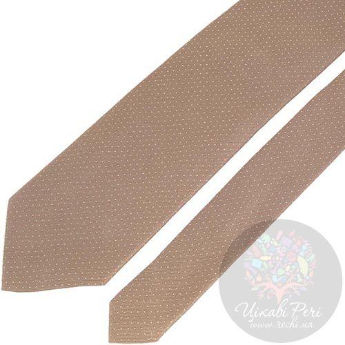 Галстук DKNY песочного цвета в мелкую белую точку, фото