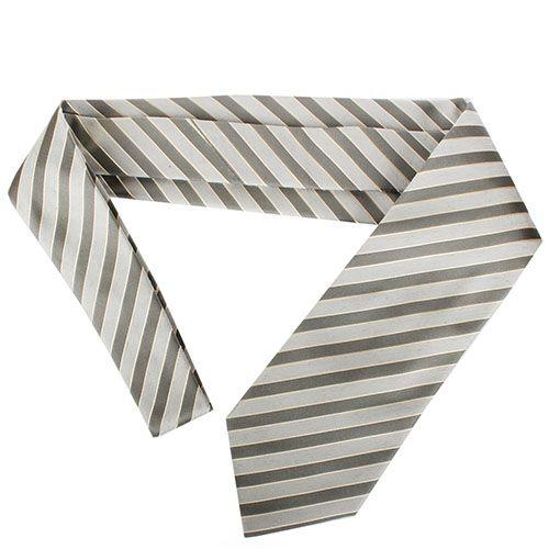 Серый галстук DKNY с полосками серебристого цвета, фото