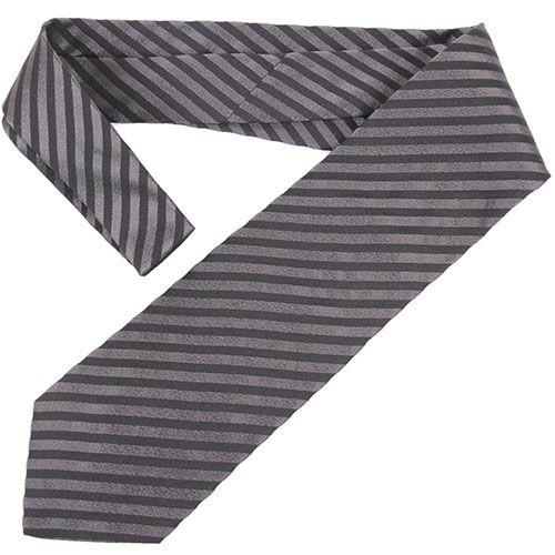 Черный галстук DKNY в серую полоску средней ширины, фото