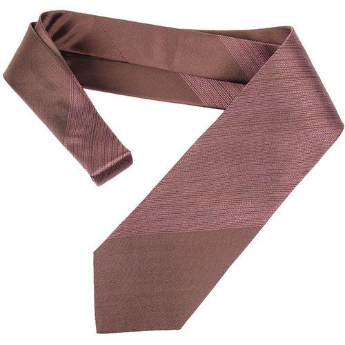 Галстук DKNY коричневого цвета с розовой декоративной строчкой, фото