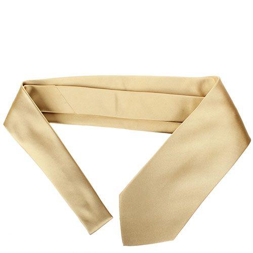 Золотой галстук DKNY шелковый с гладкой текстурой, фото