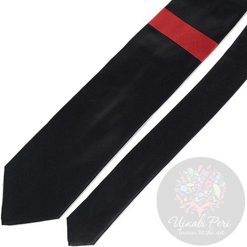 Галстук DKNY черного цвета с красной полоской, фото