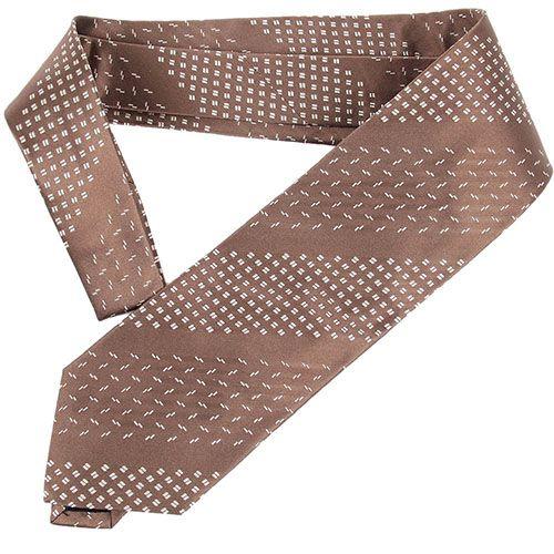 Коричневый галстук DKNY с полосками из орнаментов, фото