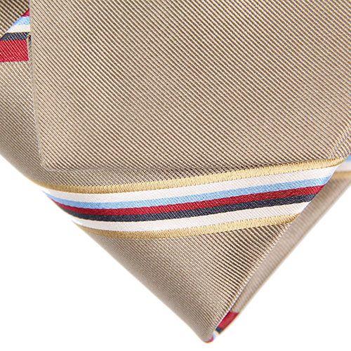 Темно-бежевый галстук DKNY с узкими разноцветными полосками, фото
