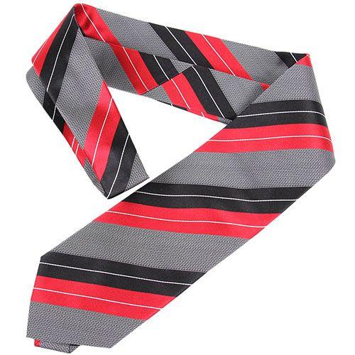 Галстук серого цвета DKNY с красными и черными полосами, фото
