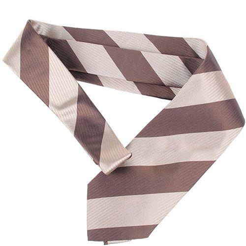 Коричневый галстук DKNY в широкую бежевую полоску, фото