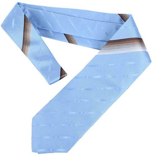 Галстук DKNY ярко-голубого цвета в полоску с атласным блеском, фото