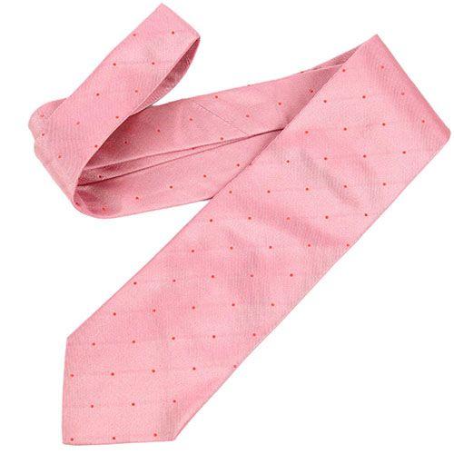 Галстук DKNY нежно-розового цвета в мелкую красную точку, фото