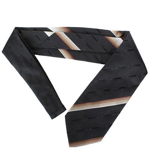Черный галстук DKNY шелковый с мелкими разноцветными полосками, фото