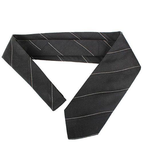 Черный галстук DKNY шелковый с тонкими  белыми полосками, фото