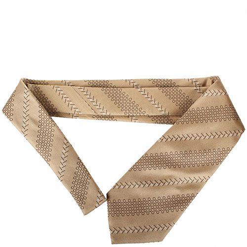 Бежевый шелковый галстук DKNY с абстрактным рисунком, фото