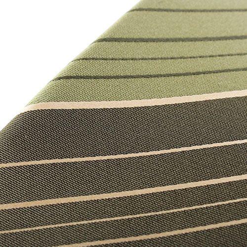 Галстук DKNY оливкового цвета в темную широкую и тонкую белую полоску, фото