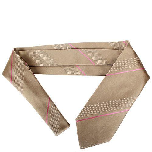 Бежевый шелковый галстук DKNY с тонкой полосой розового цвета, фото
