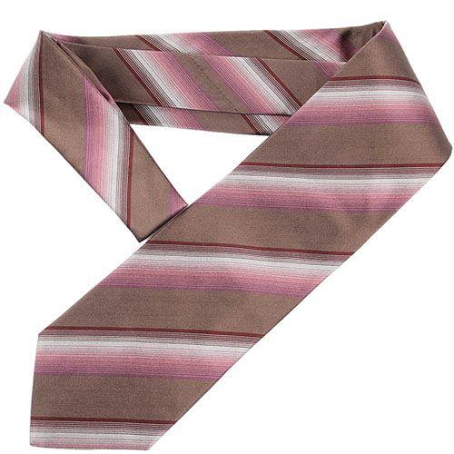 Коричневый галстук DKNY в бордовую и розовую полоски разной ширины, фото
