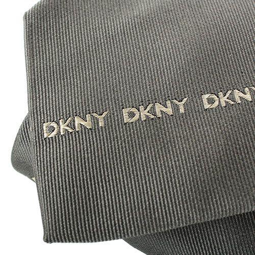 Галстук DKNY темно-серого цвета с мелкими изображениями фирменного логотипа, фото