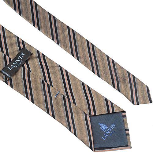 Шелковый галстук Lanvin серо-бежевый с черными и кремовыми полосами, фото