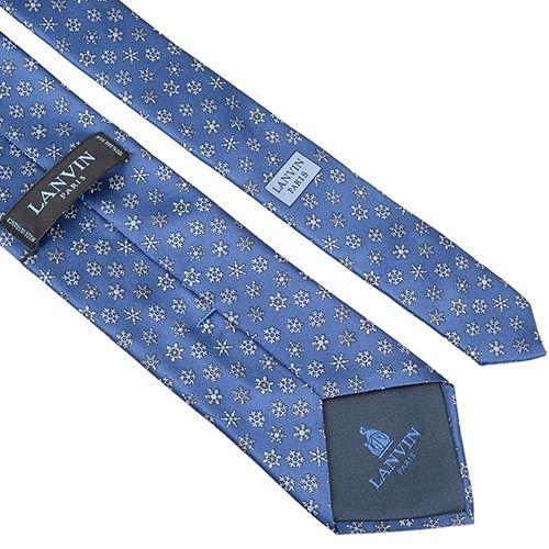 Шелковый галстук Lanvin синий со снежинками, фото