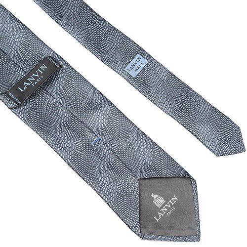Шелковый галстук Lanvin серый с абстрактным универсальным рисунком, фото