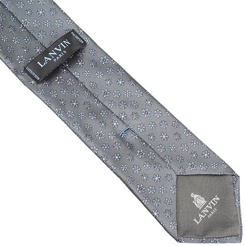 Шелковый галстук Lanvin серый со снежинками, фото