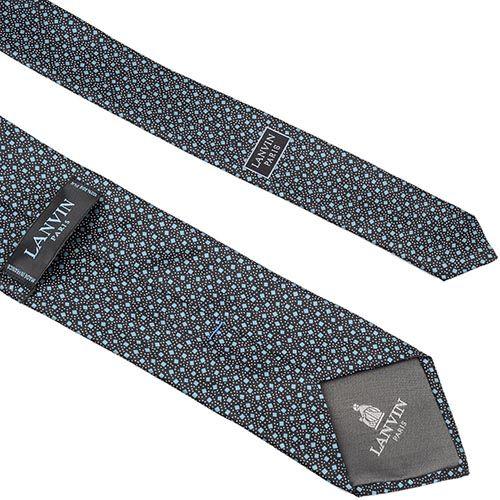 Шелковый галстук Lanvin черный с голубым принтом, фото