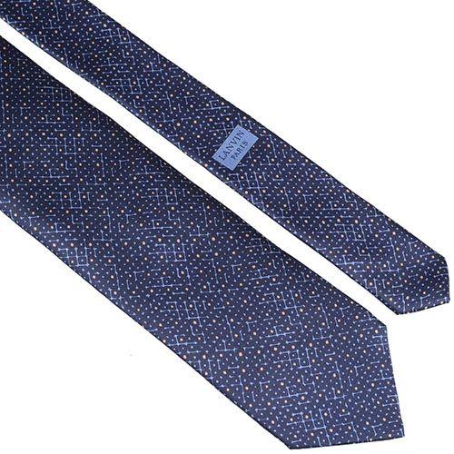 Шелковый галстук Lanvin темно-синий с рисунком, фото