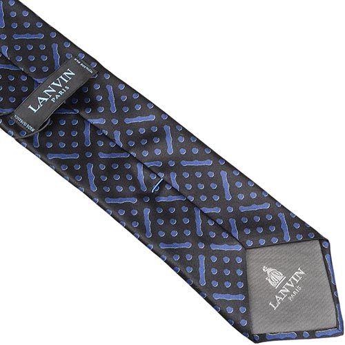Шелковый галстук Lanvin черный с синим рисунком, фото