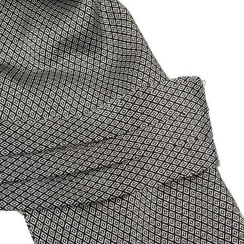Шелковый мужской шейный платок Messori черно-серый с изысканным рисунком ромбами, фото