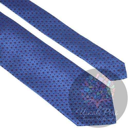 Галстук DKNY шелковый синий с мелким частым рисунком, фото