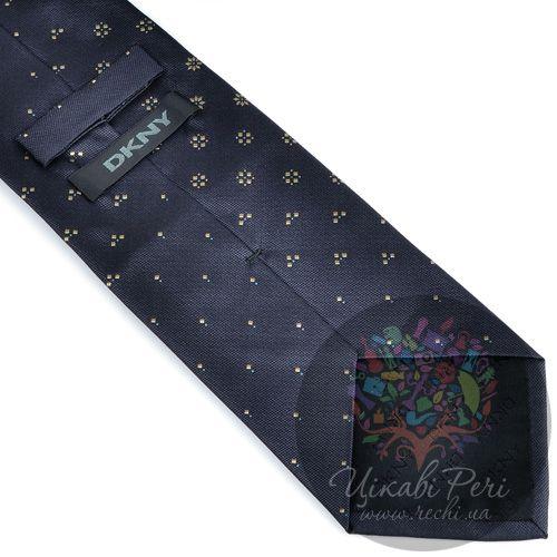 Галстук DKNY шелковый черный со стильным неброским орнаментом, фото