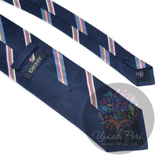 Галстук DKNY шелковый темно-синий с голубыми, белыми, розовыми полосами, фото