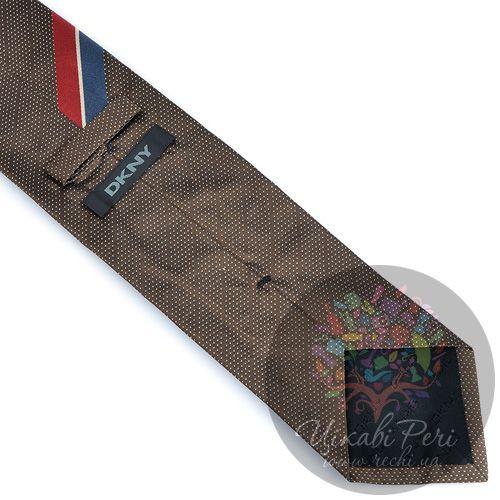 Галстук DKNY шелковый коричневый с синей и красной полосой, фото