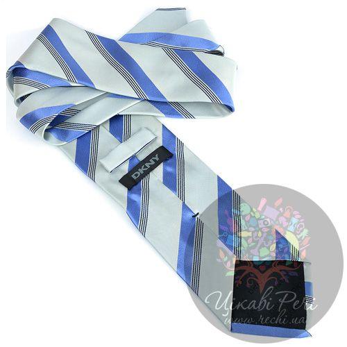 Галстук DKNY шелковый светлый с голубыми полосами, фото