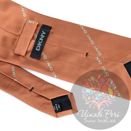 Галстук DKNY шелковый стильный оранжевый, фото