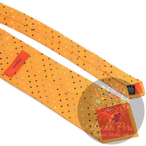 Галстук Nodus шелковый яркий желтый в точку, фото