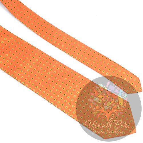 Галстук Nodus шелковый оранжевый в мелкий цветочек, фото