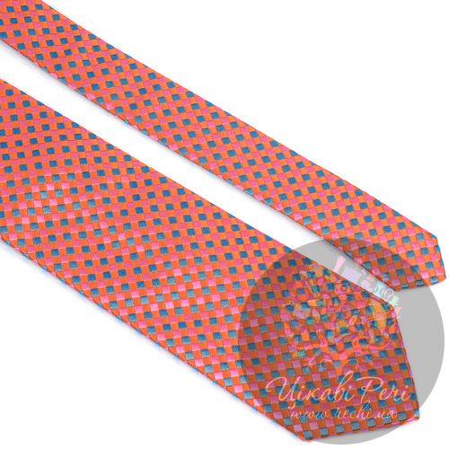 Галстук Nodus шелковый бирюзово-оранжевый, фото